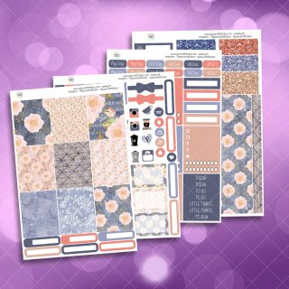 Blush Floral Full Four Sheet Weekly Planner Sticker Kit