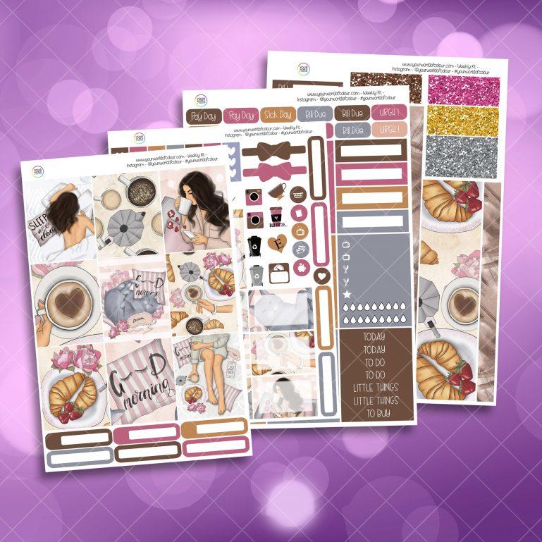 Good Morning Full Four Sheet Weekly Planner Sticker Kit