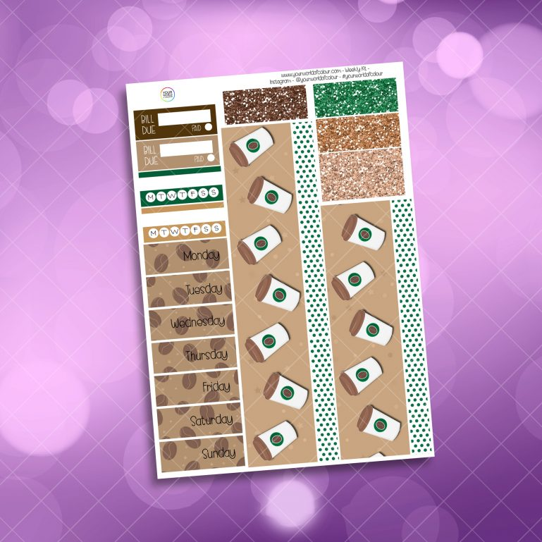 Coffee Washi and Date Cover Stickers