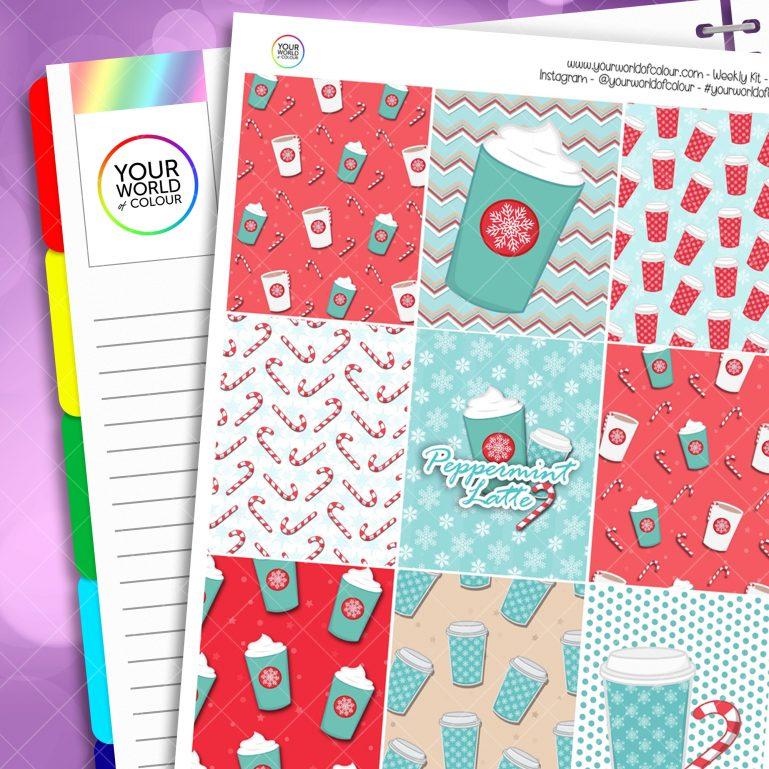 Peppermint Latte Erin Condren Weekly Planner Sticker Kit