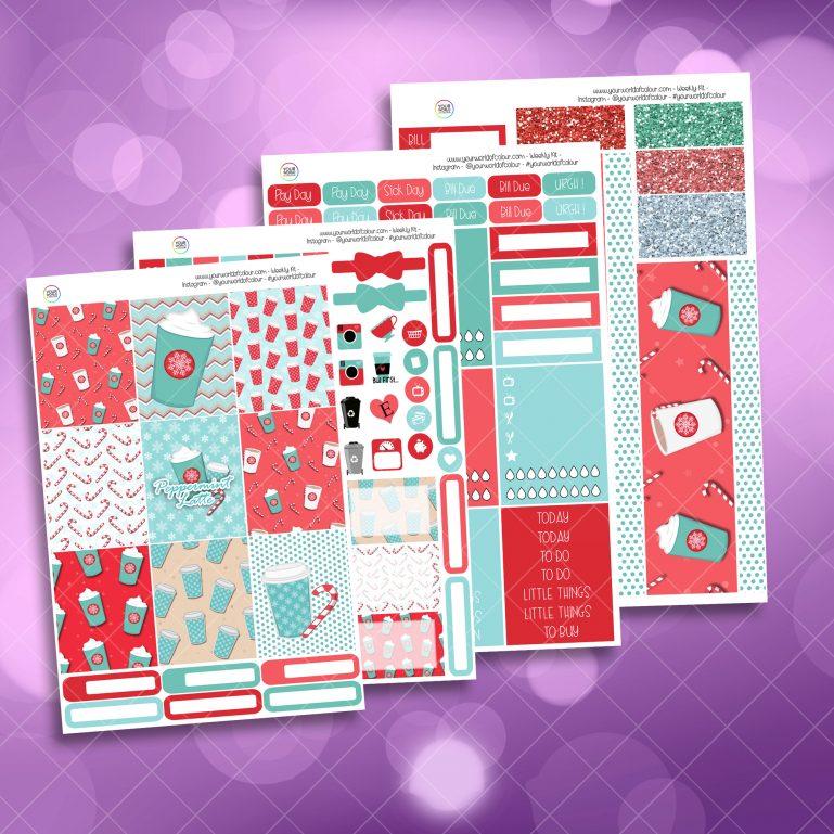 Peppermint Latte Full Four Sheet Weekly Planner Sticker Kit