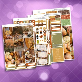 Autumn Thankfulness Full Four Sheet Weekly Planner Sticker Kit