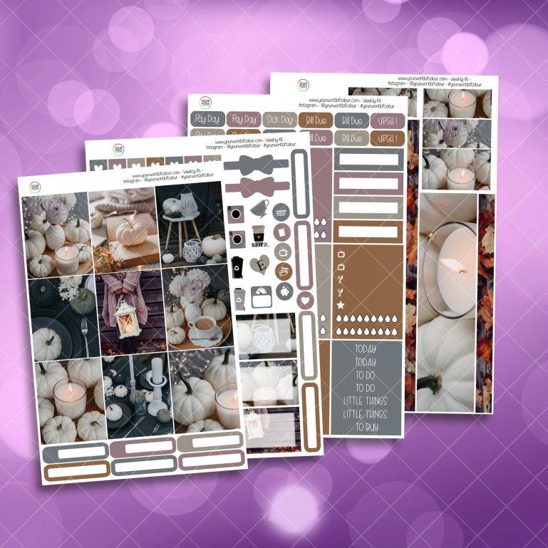 Calm Full Four Sheet Weekly Planner Sticker Kit