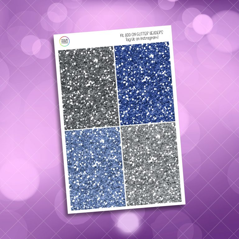 Blueberry Floral Glitter Headers Add On