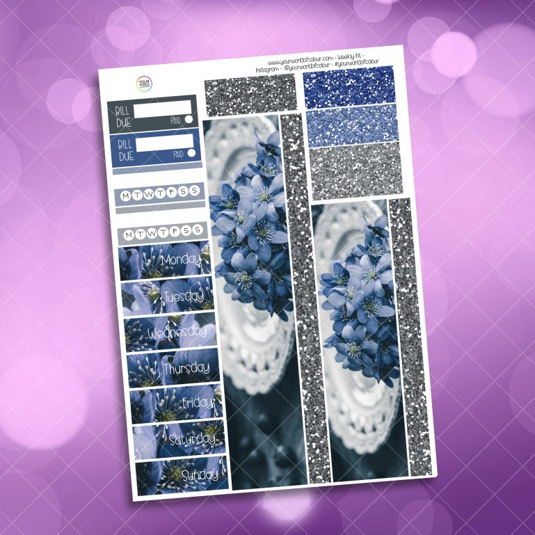 Blueberry Floral Washi and Date Cover Stickers
