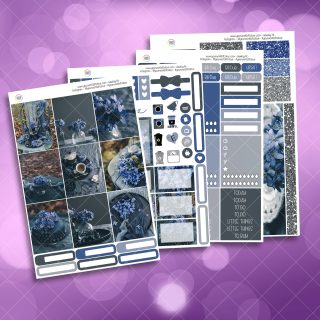 Blueberry Floral Full Four Sheet Weekly Planner Sticker Kit