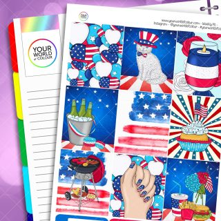 Independence Day Erin Condren Weekly Planner Sticker Kit