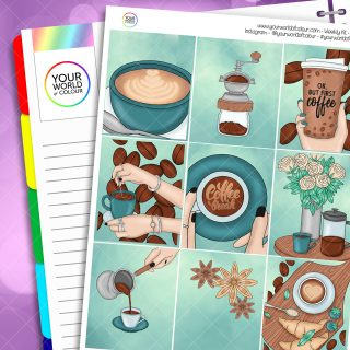 Coffee Break Weekly Planner Sticker Kit