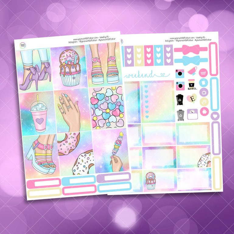Candy Girl Two Sheet Weekly Planner Sticker Kit