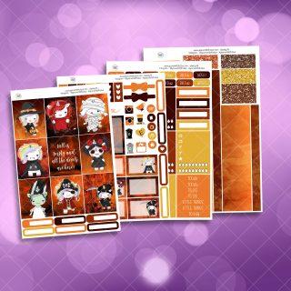 Halloween Unicorns Full Four Sheet Weekly Planner Sticker Kit