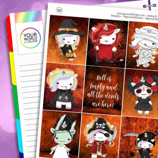 Halloween Unicorns Weekly Planner Sticker Kit