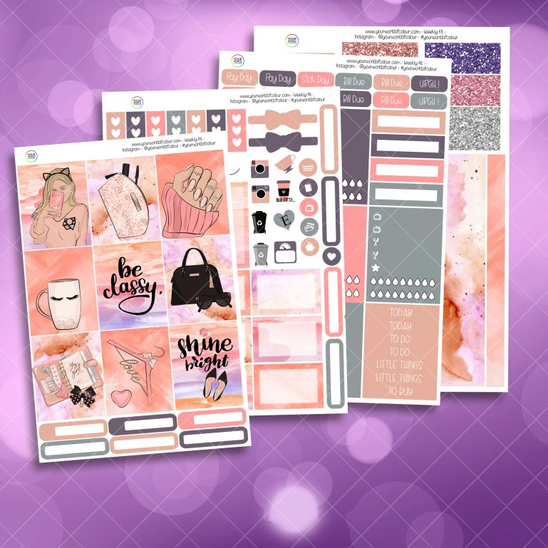 Be Classy Full Four Sheet Weekly Planner Sticker Kit