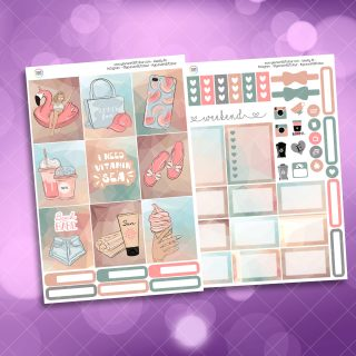 Beach Babe Two Sheet Weekly Planner Sticker Kit
