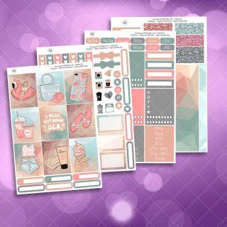 Beach Babe Full Four Sheet Weekly Planner Sticker Kit