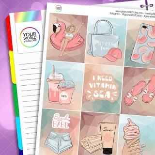 Beach Babe Weekly Planner Sticker Kit