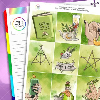 Green Witch Weekly Planner Sticker Kit