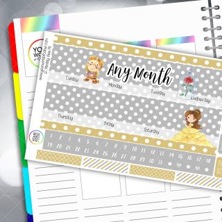 Tale As Old As Time Monthly Overview Sticker Kit