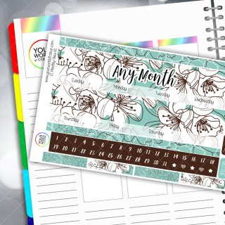 Floral Bliss Monthly Planner Sticker Kit