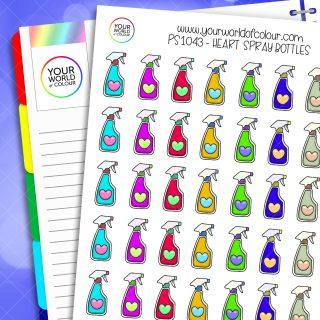 Heart Spray Bottle Planner Stickers