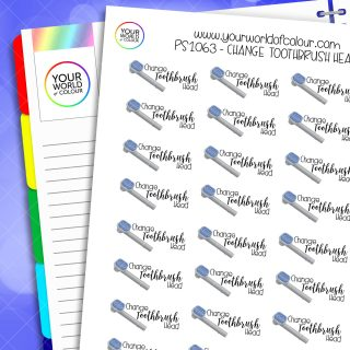 Change Toothbrush Head Planner Stickers