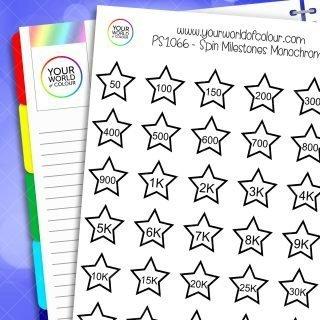 Spin Milestones Monochrome Planner Stickers