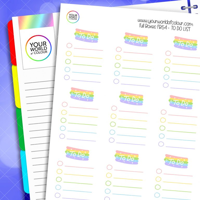 To Do List Full Box Planner Stickers