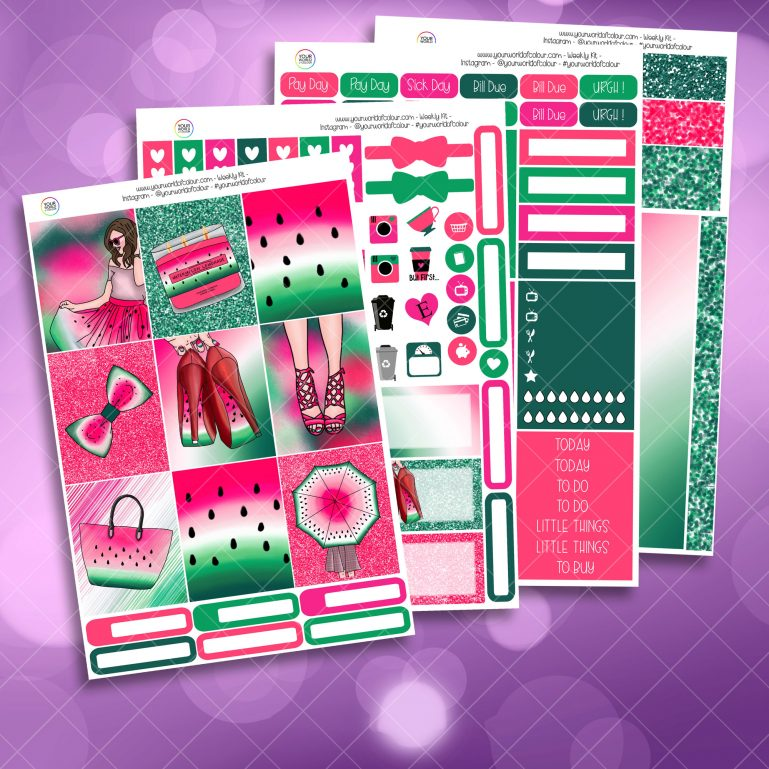 One In A Melon Full Four Sheet Weekly Planner Sticker Kit