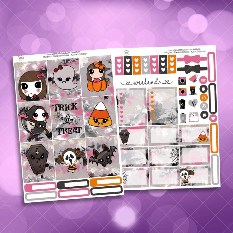 Trick or Treat Two Sheet Weekly Planner Sticker Kit