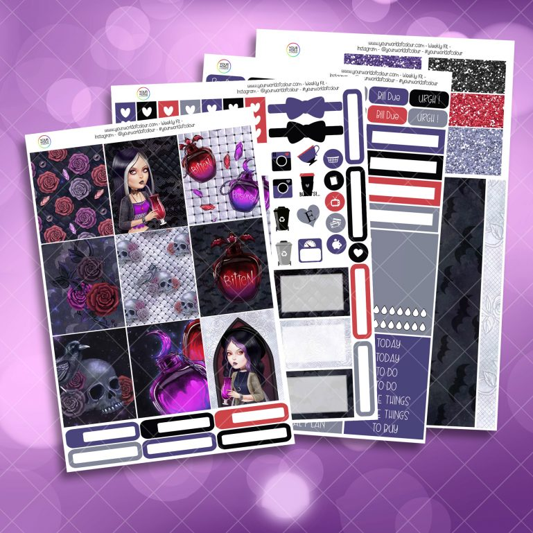 Bitten Full Four Sheet Weekly Planner Sticker Kit