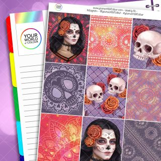 Sugar Skull Weekly Erin Condren Planner Sticker Kit