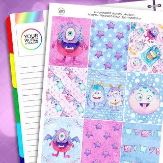 Monsters Weekly Erin Condren Planner Sticker Kit