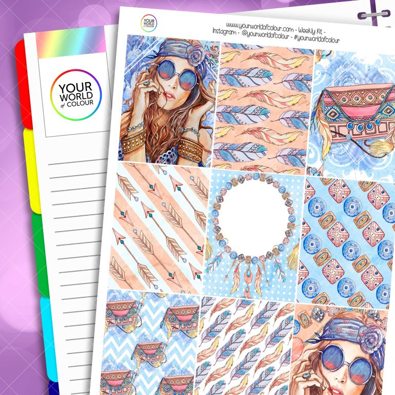 Boho Weekly Erin Condren Planner Sticker Kit