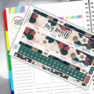 Christmas Floral Monthly Planner Sticker Kit