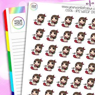 Water Ski Iris Character Planner Stickers