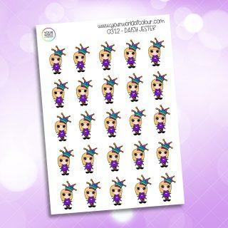 Jester Daisy Character Sticker