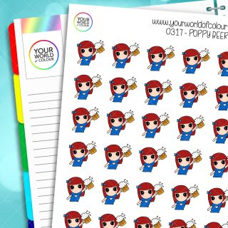 Beer Poppy Character Stickers