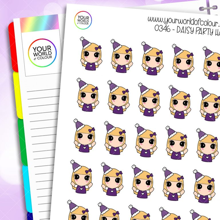 Party Hat Daisy Character Stickers