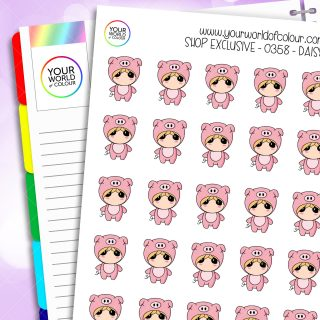 Pig Daisy Character Stickers
