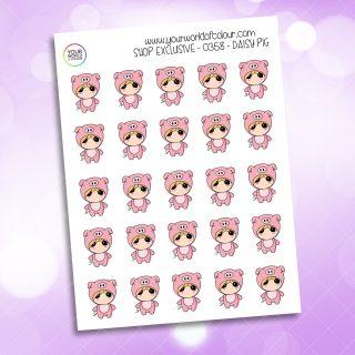Pig Daisy Character Sticker