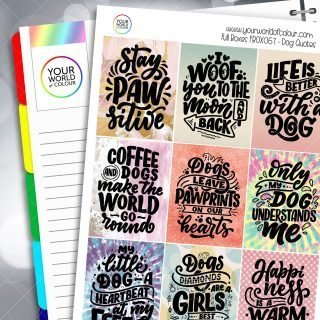 Dog Quotes Full Box Planner Stickers