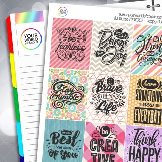 Happy Quotes Full Box Planner Stickers