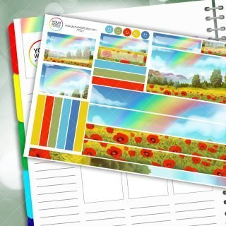 Rainbow Poppy Fields Passion Planner Daily Sticker Kit