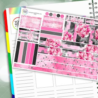 Pink Floral Passion Planner Daily Sticker Kit
