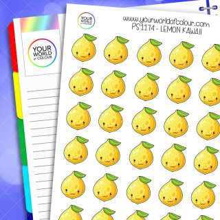 Lemon Kawaii Planner Stickers