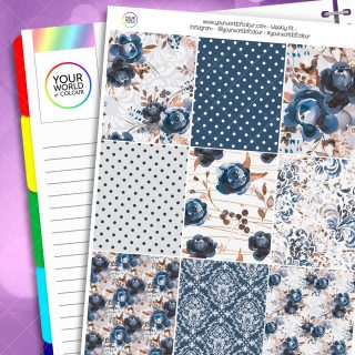 Blue Polka Dot Floral Weekly Planner Sticker Kit
