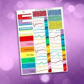 Rainbow Planner Girl Weekly Kit Washi