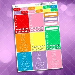 Rainbow Planner Girl Weekly Kit Headers