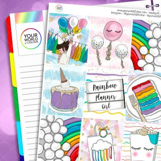 Rainbow Planner Girl Weekly Kit