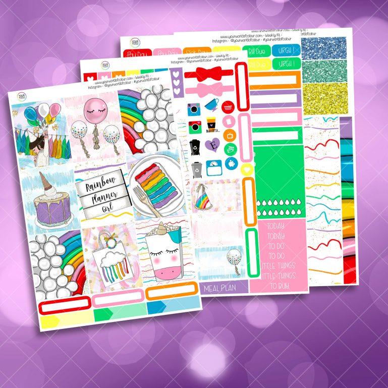 Rainbow Planner Girl Weekly Kit Full Kit