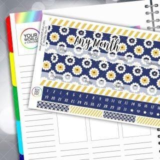 Navy Flowers Monthly Planner Sticker Kit